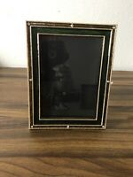 "Vtg Metal Picture Easel Frame 9""x6 3/4"" Photo RHINESTONES ENAMEL MMA/RC green"