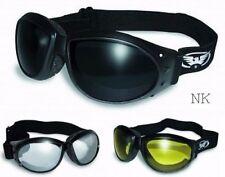 3 Eliminator Padded Motorcycle Atv Goggles-Super Dark/Clear Mirror/Yellow Lenses