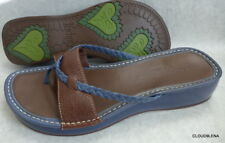 INDIGO by Clarks Brown/ Blue Leather Thong Sandals Shoes 10M
