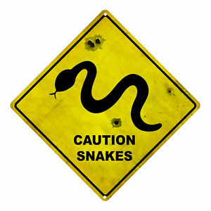 "Snake ""Caution Snakes"" Tin Road Sign"