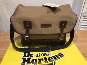 """Dr Martens Olive Grey Millerain Shoulder Satchel Bag! Size17""""!New! Only £139.90!"""