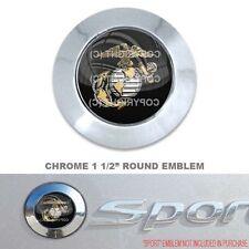 """Chrome 1 1/2"""" Round Adhesive Emblem - Car Truck SUV Motorcycle - USMC MARINE EGA"""