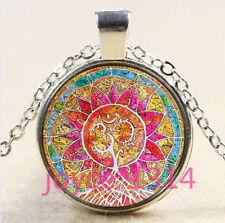 Om Symbol  tree of Life Cabochon silver Glass Chain Pendant Necklace #3186