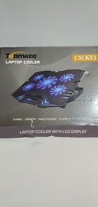 TopMate C5 10-15.6 inch Gaming Laptop Cooler Cooling Pad 5 Quiet Fans LCD Screen