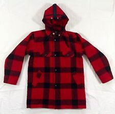 JOHNSON WOOLEN MILLS, Boy's/Girl's Children's Wool Hooded Coat Jacket Red Plaid