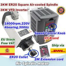 3KW 220V Square Air Cooled Spindle Motor ER20 CNC Milling+3KW HY VFD 220V【ES】