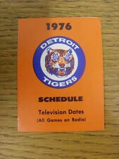 1976 Fixture Card: Baseball - Detroit Tigers (fold out style). Any faults with t