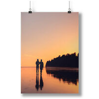 Couple's Silhouettes Walking On A Sunset Beach A0-A4 Photo Poster a3315h