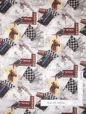 Horse Races Mens Study Books Keys Ecru Cotton Fabric Robert Kaufman By The Yard