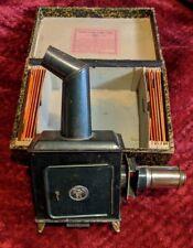 Antique German Magic Lantern Projector ERNST PLANK W/ 12 GLASS SLIDES Box TOY