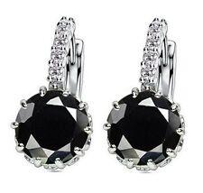 White Gold Plated Black Stone  Drop Earrings Wedding Jewellery Gift UK Seller