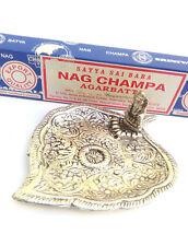 Metal Elephant silver incense cone holder FREE Nag Champa sticks ash catcher