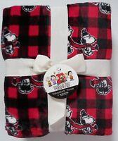 Peanuts Christmas Throw Blanket Red & Black Buffalo Check Snoopy Charlie Brown