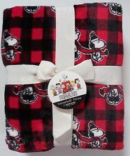 Peanuts Throw Blanket Buffalo Check Plaid Red & Black Christmas NEW Berkshire