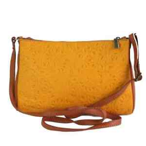 Ladies Trasea Italian Leather Handbag - Yellow