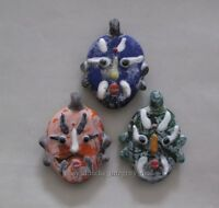 3 Pcs Old China Peking Glass Colored Carved face Pendant statue