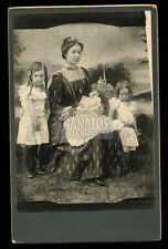 pretty woman & post mortem baby - creepy siblings in white - antique 1890s photo