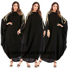 Black Embroidery Abaya Casual Bat Sleeve Dress Women Islamic Arab Cocktail Gown
