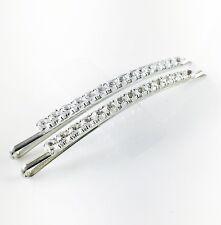 USA WOMENS Bobby Pin Hairpin Hair Clip Rhinestone Crystal Silver Clear NEW
