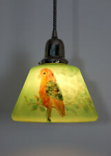 Custom Nickel Pendant Ceiling Light. Vintage Hand Painted Parrot Shade.