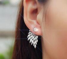 Feather Rhinestone Crystal Ear Stud Pierced Earrings Gold/Silver Ladies Jewelry