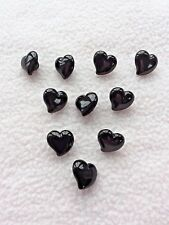 10 x BLACK HEART SHAPED BUTTONS size 13mm ~ FASHION/CRAFT