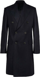 Mens Black Long Coat Double Breasted Custom Made Heavy Cotton Trench Overcoat