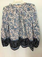 Ann Taylor LOFT Blue Floral Tunic Blouse, Small