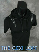 Mens RNZ Short Sleeve DESIGNER Big Collar T-Shirt Black w/ Zip Trim SLIM FIT