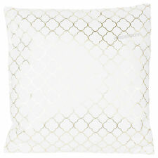 Large 43cm X 44cm White & Gold Cushion Fabric Sofa Scatter Soft Furnishing Decor