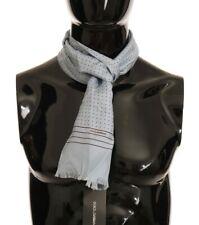NEW $230 DOLCE & GABBANA Scarf Blue 100% Silk Polka Dot Shawl Wrap s. 140x22cm