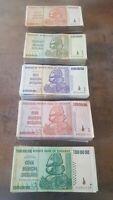 Zimbabwe Billion dollars Set 5 Banknotes (1,5,10,20,50 billion) Used. CIRCULATED