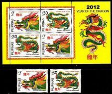 Philippines 2012 China Zodiac New Year of DRAGON 2 values + S/S mint NH