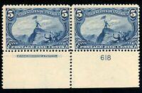 USAstamps Unused FVF US Trans-Mississippi Plate # Imprint Pair Scott 288 OG MVLH
