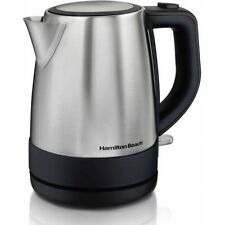 HAMILTON BEACH 1 LITER ELECTRIC KETTLE, STAINLESS STEEL *DISTRESSED PKG* NEW