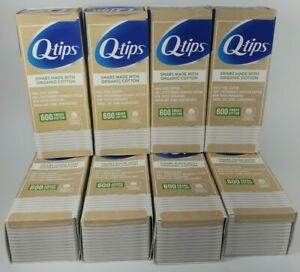 LOT OF 8 Q-Tips Made with Organic Cotton Swabs 600 Count ear compostable C1