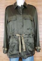 Theory Womens Thornewood Silk Vine Green Vintage Satin Jacket sz P Retail $595