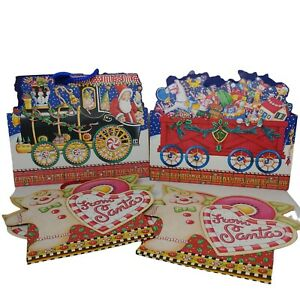 Mary Englebreit Holiday Gift Bag 4 Lot Punch Studio Gingerbrd Man Santa Train