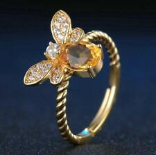New 925 Silver Citrine Gem Queen Bee Animal Wedding Engagement Ring Adjustable