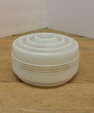 "Vtg. 6 1/2"" Art Deco Clear Glass w/White Schoolhouse Kitchen Ceiling Light Globe"