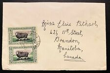 1933 FALKLAND ISLAND CENTENARY ISSUE.  1/2/d. PAIR ON COVER TO CANADA.