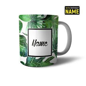 Personalised Mug Initials Name Watercolour Tropical Plants Gold Gift Present