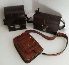 Lot de 2 sacoches cuir pour appareil photo / camera + sac en cuir années 70