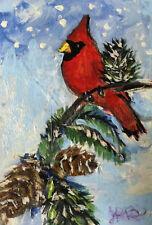 ACEO  Original Art Card by Judi Bilick~ WINTER RED BIRD