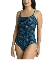 Speedo Women's Athletic Modest Coverage One Piece Swimsuit Blue Size 6 New with