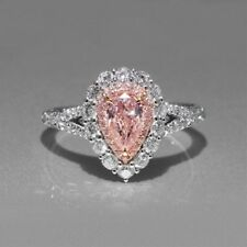 Certified 3.55Ct Baby Pink Pear Diamond Engagement Ring in Real 14K White Gold