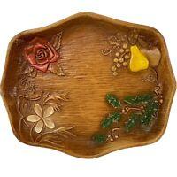 Vintage Mid Century Faux Wood Serving Nut Tray MCM Four Seasons Multi Prod USA