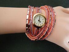 Pink Woman Stunning Rhinestones Wrap Fashion Bracelet Wristwatch Watch