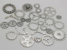 50 Assorted Tibet Silver Tone Steampunk Filigree Gears Charm Pendant Cogs Discs
