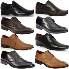 Para Hombre Cuero diseñador italiano Oficina Boda Formal Traje Negro Smart tamaño de zapato